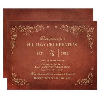 Holiday Wine Party Invitation | Vintage Vineyard