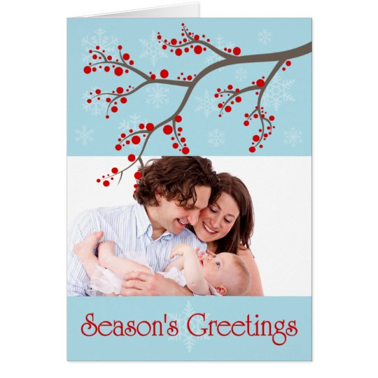 Holiday Winter Berries  Photo Greeting Card