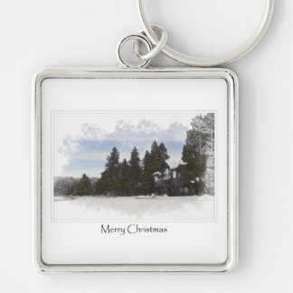 Holiday Winter Cabin in the Snow Keychain