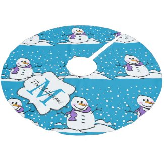 Holiday Winter Happy Snowman Monogram Brushed Polyester Tree Skirt