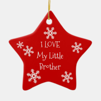 Holiday Winter Snowflake I Love My Brother Sister Ceramic Ornament
