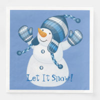 Holiday Winter Snowman Paper Napkins