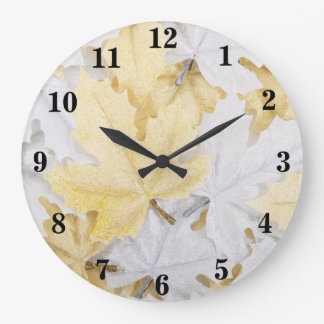 Holiday Winter White and Gold Glitter Maple Leaves Large Clock