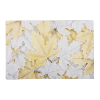 Holiday Winter White and Gold Glitter Maple Leaves Placemat