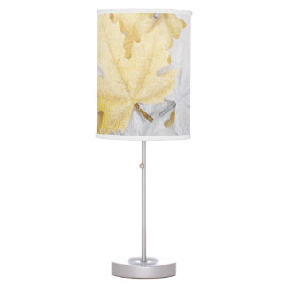 Holiday Winter White and Gold Glitter Maple Leaves Table Lamp