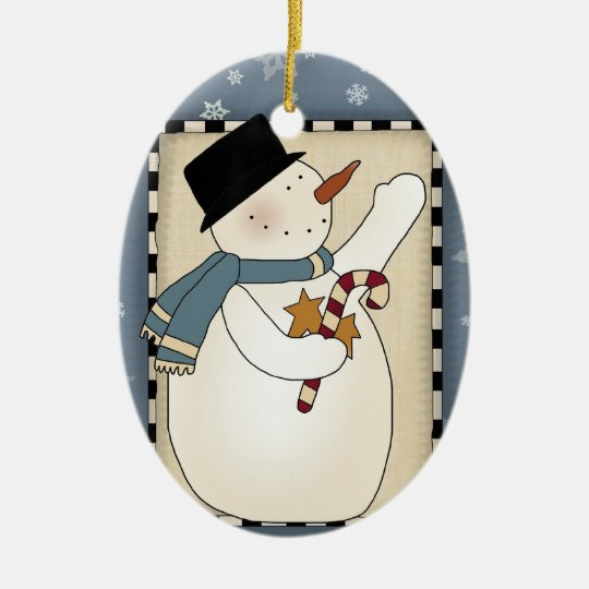 Holiday Winter Wishes Snowman Ceramic Ornament