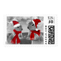 Holiday Winter Woodland Squirrels Postage