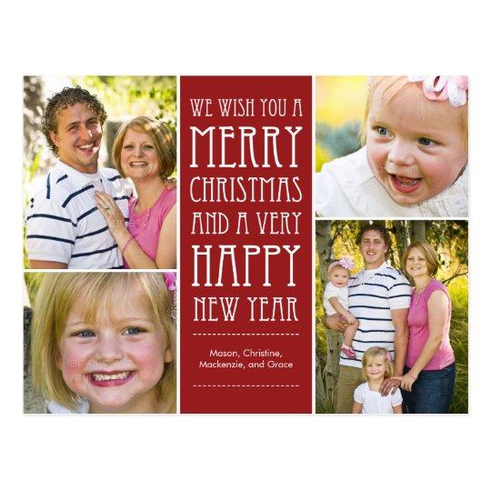 Holiday Wishes Christmas Photo Card Postcard