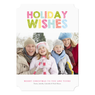 HOLIDAY WISHES | Colorful Chalk 5x7 Paper Invitation Card