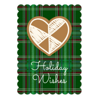 Holiday Wishes Gingerbread Heart Plaid Card