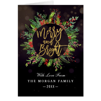 Holiday Wishes Merry and Bright Christmas Greeting Card