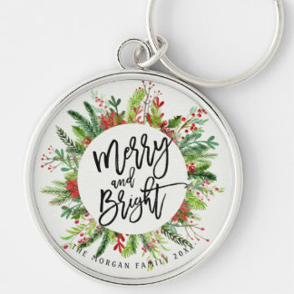 Holiday Wishes Merry and Bright Christmas Greeting Keychain
