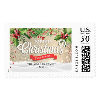 Holiday Wishes Merry and Bright Christmas Greeting Postage