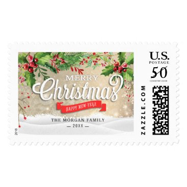 Christmas Themed Holiday Wishes Merry and Bright Christmas Greeting Postage