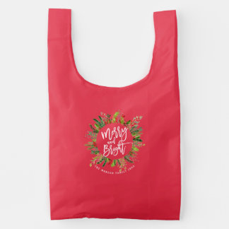 Holiday Wishes Merry and Bright Christmas Greeting Reusable Bag