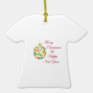 HOLIDAY WISHES Double-Sided T-Shirt CERAMIC CHRISTMAS ORNAMENT
