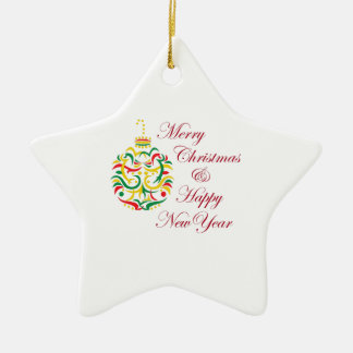 HOLIDAY WISHES Double-Sided STAR CERAMIC CHRISTMAS ORNAMENT