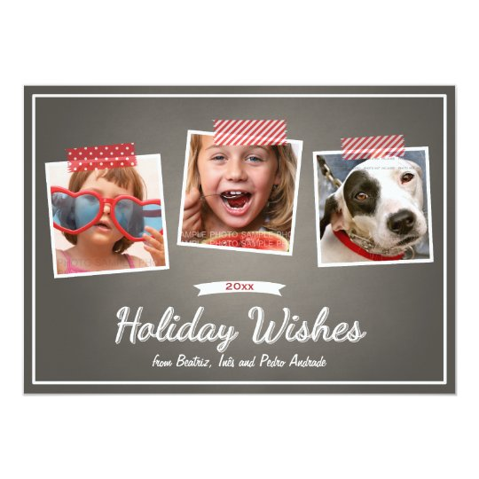 Holiday Wishes Three Photos Tape Chalk Christmas Card