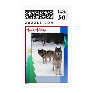 Holiday Wolf Postage Stamps