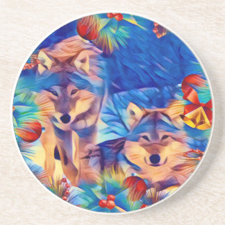 Holiday Wolves Drink Coaster
