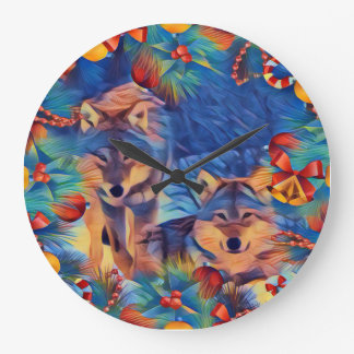 Holiday wolves large clock