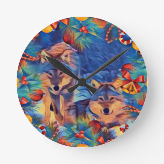 Holiday wolves round clock