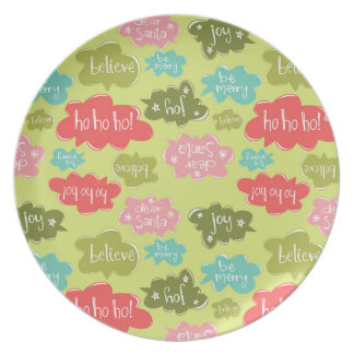 Holiday Word Bubbles Plate