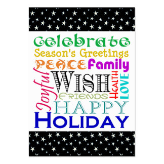 Holiday Words and Stars Gift Tag Large Business Cards (Pack Of 100)
