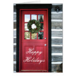 Holiday Wreath and Red Door Greeting Card