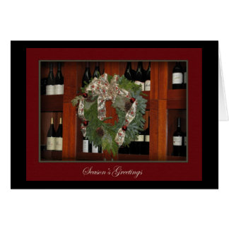 Holiday Wreath and Wine Card
