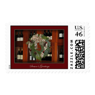 Holiday Wreath and Wine Postage