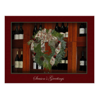 Holiday Wreath and Wine Print