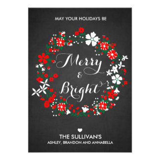 Holiday Wreath Chalkboard Christmas Flat Card