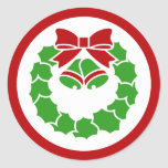 Holiday Wreath Classic Round Sticker