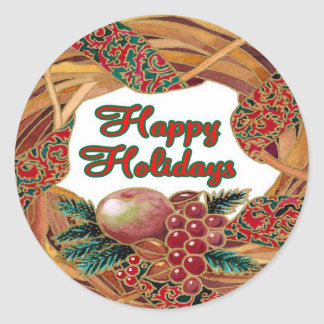 Holiday Wreath Classic Round Sticker