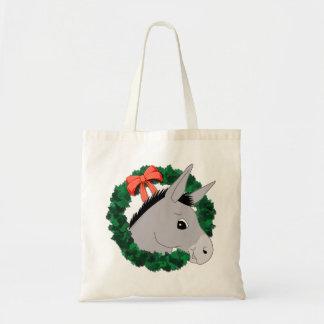 Holiday Wreath Donkey Budget Tote Bag