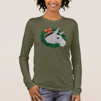 Holiday Wreath Donkey Long Sleeve T-Shirt