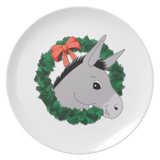 Holiday Wreath Donkey Melamine Plate