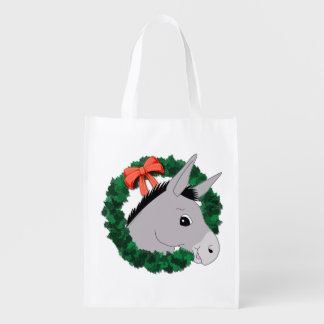 Holiday Wreath Donkey Reusable Grocery Bags