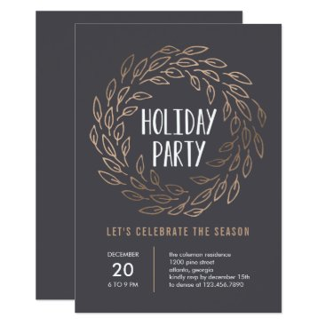 Professional Business Holiday Wreath EDITABLE COLOR Party Invitation