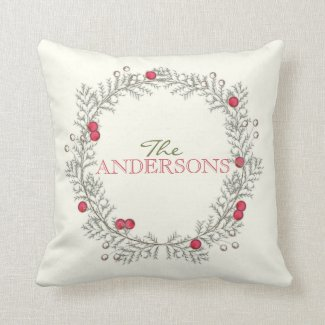 Holiday Wreath Editable Decor Pillow