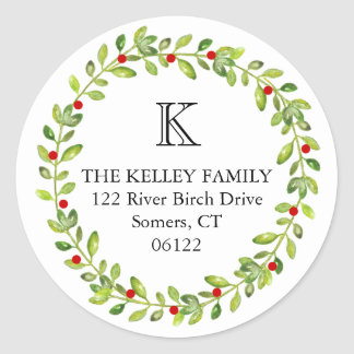 Holiday Wreath Initial Monogram Classic Round Sticker