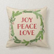 Holiday Wreath Joy Peace Love Christmas Throw Pillow