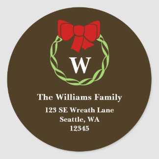 Holiday Wreath Monogram Christmas Address Labels