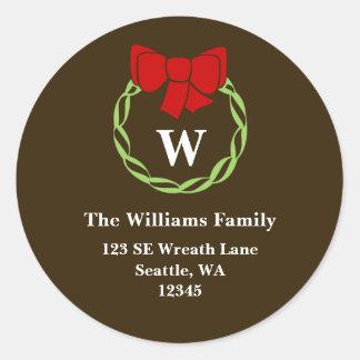 Holiday Wreath Monogram Christmas Address Labels Classic Round Sticker