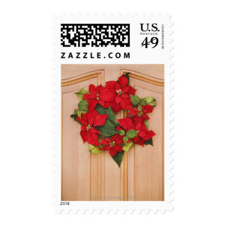 Holiday wreath on door stamps