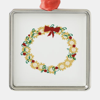 Holiday Wreath Square Metal Christmas Ornament
