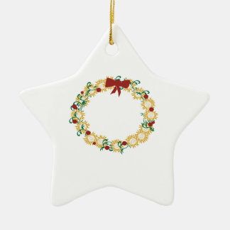 Holiday Wreath Double-Sided Star Ceramic Christmas Ornament