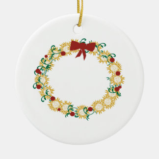 Holiday Wreath Double-Sided Ceramic Round Christmas Ornament