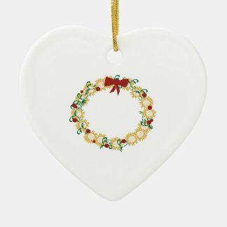 Holiday Wreath Double-Sided Heart Ceramic Christmas Ornament
